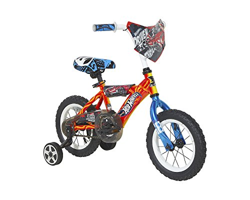 Hot Wheels Boys Dynacraft Bike with Turbospoke, 12'', Red/Blue/Black