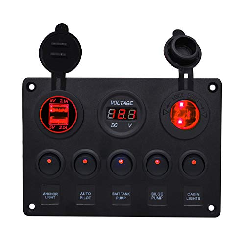 - Belloc 2019 Pre Wired Rocker Switch Panel - Waterproof On/Off Toggle Rocker, 12V with Fuse, Circuit Breaker with 3 Pin Red LED Indicator for RV, Cars, Marine, Boat, Yacht