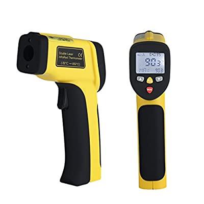 Infrared Thermometer Dual Laser Thermometer Temperature Gun Non-contact Surface IR Thermometer with Adjustable Emissivity -58°F to 1202°F Instant Read Digital Thermometer, Battery Included
