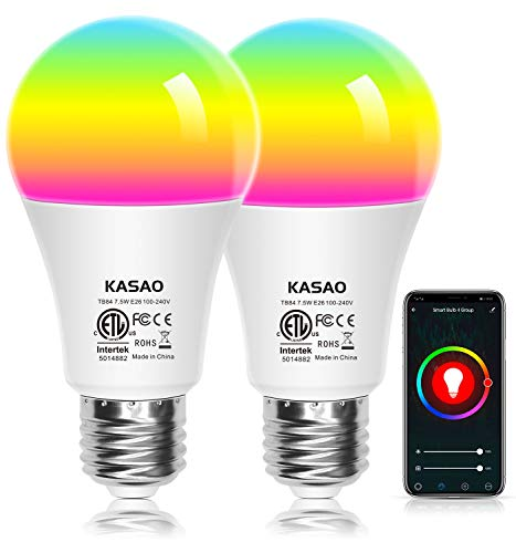WiFi Smart LED Light Bulb, A19 E26 RGB+W(6500K) Color Changing Light Bulbs Compatible with Alexa, Google Home Assistant and IFTTT, No Hub Required 7.5W (60W Equivalent)-2 Pack
