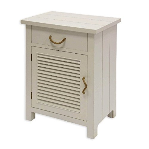 Lightly Distressed Finish Shutter Cabinet Side Table in White with Ample Storage Space ()