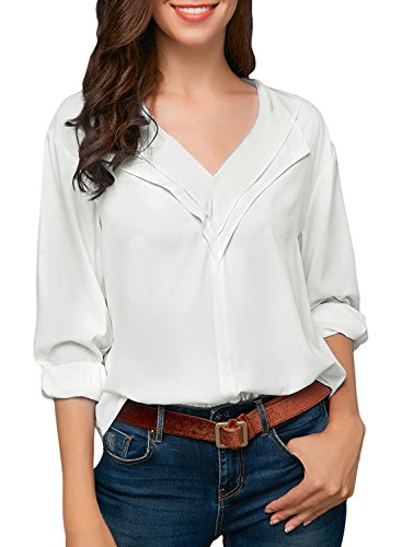 FIYOTE Women Casual Roll up Sleeve V Neck Chiffon Solid Tops Blouses Small Size White