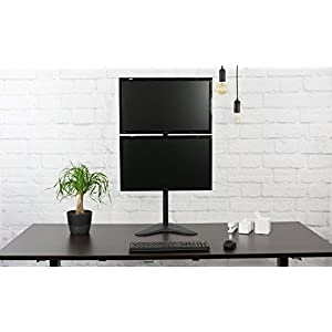 "VIVO Dual Monitor Desk Stand Free-standing LCD mount, Holds in Vertical Position 2 Screens up to 27"" (STAND-V002L)"