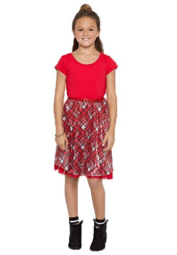 Justice Girl's Red Knit and Plaid Belted Sequined Short Sleeve Dress - Chirstmas, Holiday - Shop At Justice