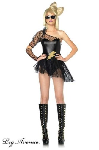 [Leg Avenue Women's 3 Piece Lightening Rocker Bodysuit With Skirt And Gauntlet] (Lady Reaper Costumes)