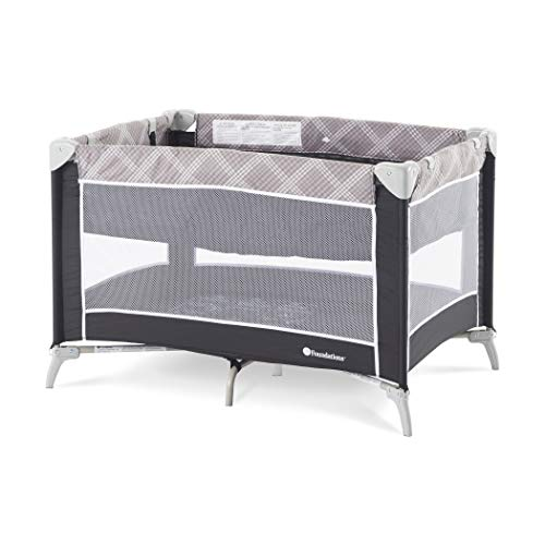 (Foundations Sleep 'n Store Portable Playard with Bassinet, Mod Plaid Graphite)