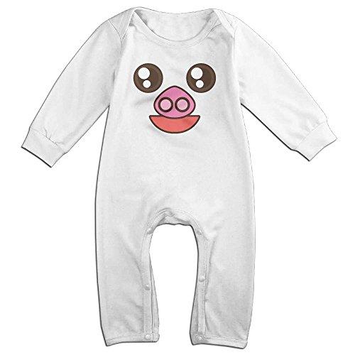 Tongbu Pig Cartoon Face Baby's Bodysuit Climb Clothes Boy & Girl Soft Cotton Long Sleeve Romper Jumpsuit 6 MWhite