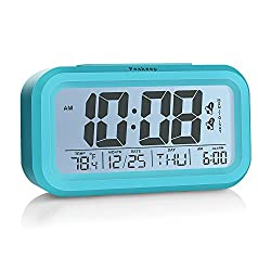 Peakeep Digital Alarm Clock with 2 Alarms for Optional Weekday Mode, Snooze, Smart Night Light, Battery Operated Only (Blue)