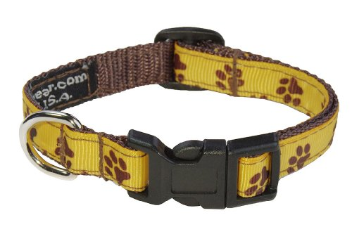 Sassy Dog Wear 1/2' x 6'-12' Puppy Paws Dog Collar, X-Small, Yellow/Brown