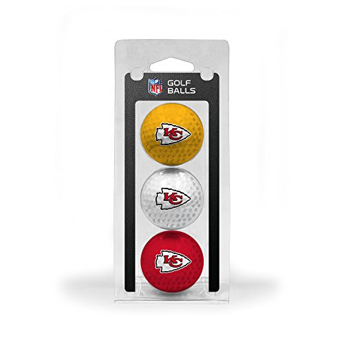 Team Golf NFL Kansas City Chiefs Regulation Size Golf Balls, 3 Pack, Full Color Durable Team Imprint (Kansas Golf Ball)