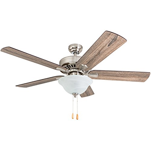 """Prominence Home 50765-01 Elk Mountain Farmhouse Ceiling Fan (3 Speed Remote) 52"""" Barnwood/Tumbleweed, Brushed Nickel"""