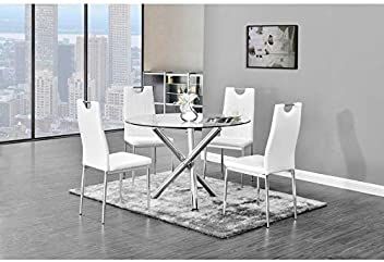 aae0732f1ccd Best Master Furniture T248 Crystal 5 Pcs Round Glass Top Dinette Set  5-Piece,