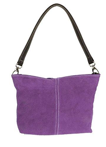 Leather Suede Shoulder Handbag Bag HandBags Purple New Genuine Tote Light Girly xIUw4