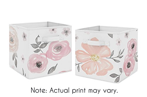 (Pink and Grey Watercolor Floral Foldable Fabric Storage Cube Bins Boxes Organizer Toys Kids Baby Childrens for Collection by Sweet Jojo Designs - Set of 2)