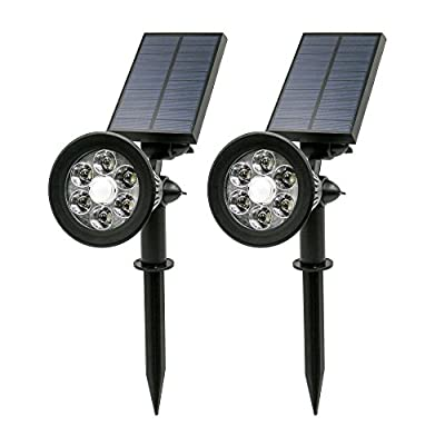 KOLIA PLUS Outdoor Solar Spotlights with Motion Sensor (2-Pack) | 6 LED - 300 Lumen | Detects Movement and Automatically Turns from Dim Mode to Bright Mode - Light Safely Your Walkway when Coming Home