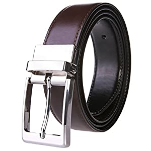 "Men's Dress Belt Genuine Leather Reversible Buckle with 1.25"" Wide Strap - Black/Brown(3.0"" 1136)"