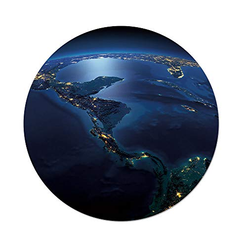 (iPrint Polyester Round Tablecloth,World,Countries Central America Earth at Night Costa Rica Nicaragua Pacific Ocean Decorative,Blue Forest Green,Dining Room Kitchen Picnic Table Cloth Cover Outdoor I)