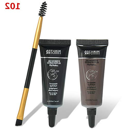 Kaputar 2pcs Brown Waterproof Tint Eyebrow Henna With Mascara Eyebrows Paint Brush set | Model MKPBRSH - 5060 | ()