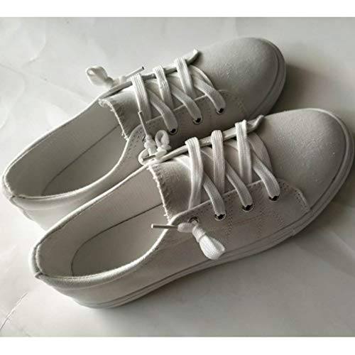 Walking Sneakers Canvas Casual Junkai Lace Classic da Espadrillas comode Flats Donna Bianca Scarpe Up X55qg0w
