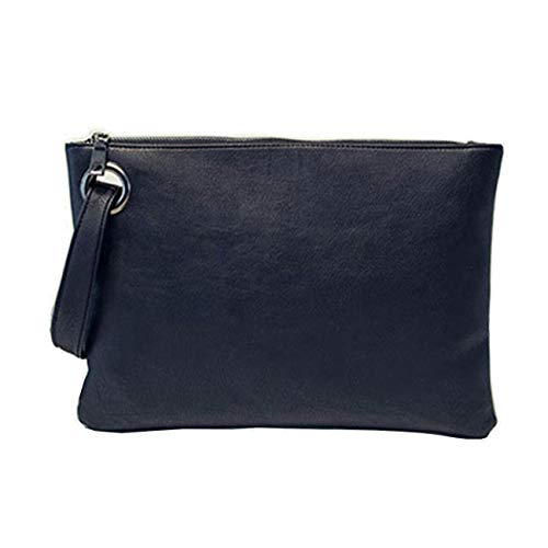 - Aladin Oversized Clutch Bag Purse, Womens Large leather Evening Wristlet Handbag Black