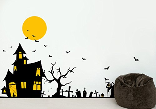 [PopDecors - Halloween Ghost House Decals - Beautiful Tree Wall Decals for Kids Rooms Teen Girls Boys Wallpaper Murals Sticker Wall Stickers Nursery Decor Nursery Decals PT-0184] (Scarry Halloween)