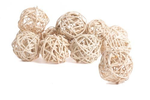 2 Packages Olivia Handmade Decorative Spheres of 6-Naturally Bleached Rattan Twig Grapevine Vase Fillers Balls Ornament Decoration Bowl Filler Great For Crafting 2.25 inches-12 Total Balls
