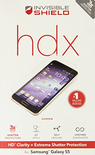 ZAGG InvisibleShield HDX Screen Protector - HD Clarity + Extreme Shatter Protection for Samsung Galaxy S5