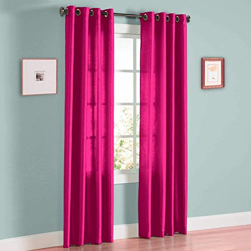 (Sapphire Home 2 Panel Faux Silk Solid Curtain Drapes w/Bronze Grommet 84
