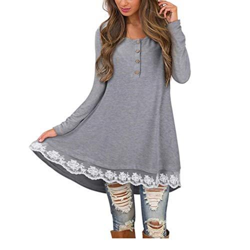 ❤ Camisa Larga de Mujer Camisa de Encaje de otoño, Camiseta con Cuello en V de Manga Larga Casual Camiseta con Cuello en V sólida Tops de Blusa Absolute: ...