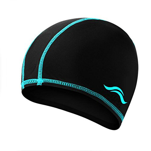 Ewandastore Solid Color Lycra Swim Caps for Long Hair Pleated Cloth Swimming Cap Bathing Hat for Adult Men and Women(Blue Stripe) ()