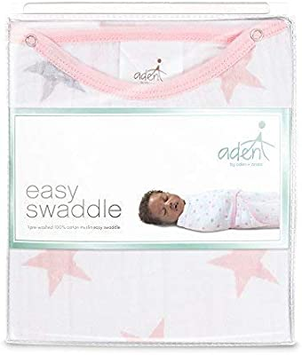 Aden by Aden Pink Stars 100/% Cotton Anais Easy Swaddle Wearable Baby Wrap