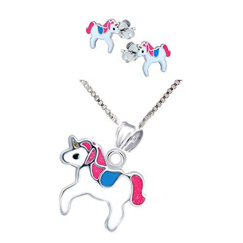SL de Silver Set Cadena infantil pendientes colgante Pegatina Unicornio 925plata en caja de regalo