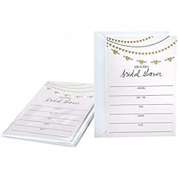 Amazon Com Hallmark Bridal Shower Invitations 24 Kitchen Dining