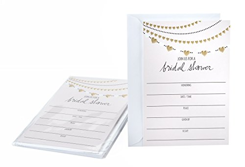 Kitchen Bridal Shower Invitations - Hallmark Bridal Shower Invitations, Gold Hearts (Pack of 10 Wedding Shower Invites with Envelopes)
