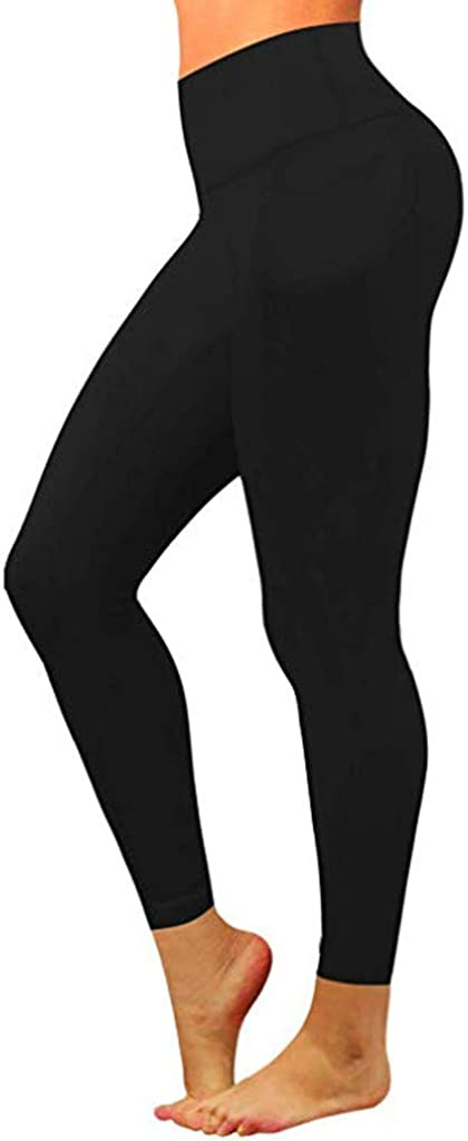 Fitfulvan Yoga Pants,Womens High Waist Running Workout Leggings for Yoga with Pockets Quick Drying Fitness Pants