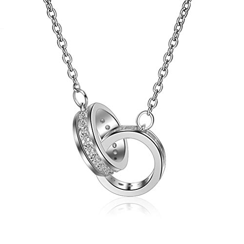 LOVESILVER Sterling Silver Double Ring Pendant Necklace,18