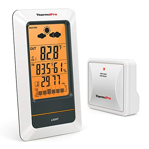 - ThermoPro TP67 Rechargeable Indoor Outdoor Thermometer Wireless Weather Station Digital Barometer Hygrometer Humidity Gauge with Cold-Resistant and Waterproof Temperature Monitor, 200ft/60m Range