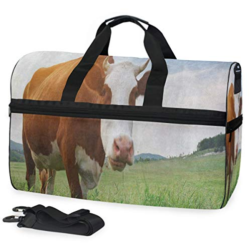 - Cute Cow Meadow Grass Gym Bags for Men&Women Duffel Bag Overnight Yoga Bag with Shoe Compartment