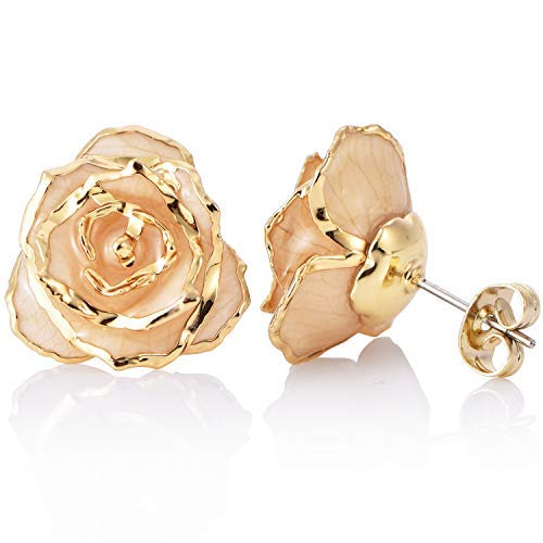 - Stud Earrings 24K Gold Dipped Rose Earring Pins Simple Style - Made of Fresh Rose Flower, Last Forever Valentine's Birthday Anniversary Day Gift for Her (white)
