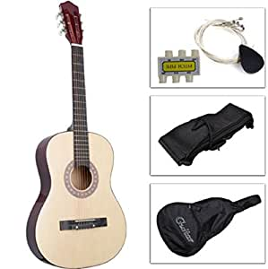 best acoustic guitar with guitar case strap tuner and pick for new beginners beige. Black Bedroom Furniture Sets. Home Design Ideas