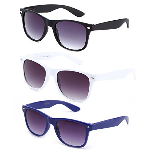 4bd5773264 Newbee Fashion - 80 s Classic Blue Brothers Horn Rimmed Style Vintage Retro  Wayfarer Sunglasses (Lots