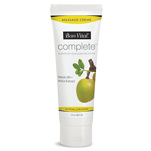 - Bon Vital Complete Massage Creme, Premium Dual Purpose Cream for Hypoallergenic Professional Massages, Non Greasy Unscented Moisturizer Made with Marula, Olive, Avocado, Jojoba Oil, 3 oz. Tube