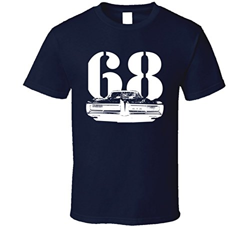 CarGeekTees.com 1968 GTO Grill View with Year Dark T Shirt L Navy