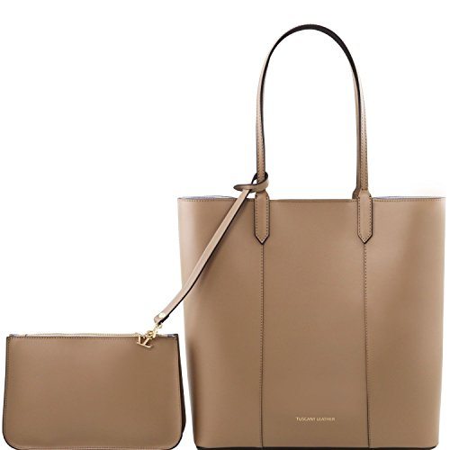 Tuscany Leather - Dafne - Ruga leather shopping bag with matching clutch - Taupe clair