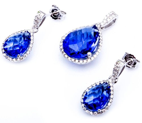 (9ct Pear Shape Simulated Tanzanite & Cz .925 Sterling Silver Earring & Pendant Jewelry set)