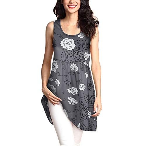 Womens Shirts Sleeveless Loose Vintage Print Dresses Casual Short Dress Swing T-Shirt Loose Dress -