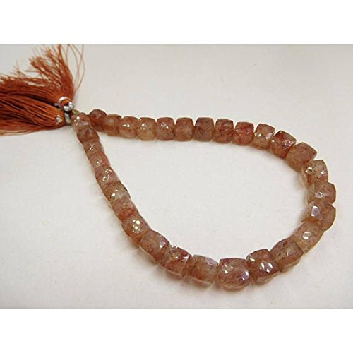 Natural Copper Rutile 6-7 Mm Faceted Cube Box Beads 8' Strand SHRI NATH GEMS & JEWELLERY