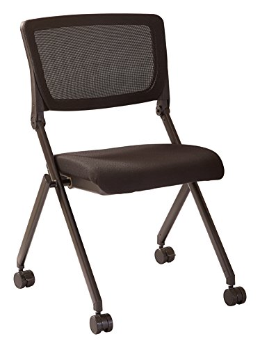 Office Star Breathable Flexible Mesh Back Armless Folding Nesting Chair with Padded Fabric Seat and Casters, 2-Pack, Black