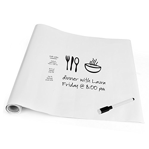 WELLHOME Dry Erase Wall Sticker Paper, Self-Adhesive Whiteboard Surface Sheets Wall Decal Film Roll with Dry Erase Marker, 17