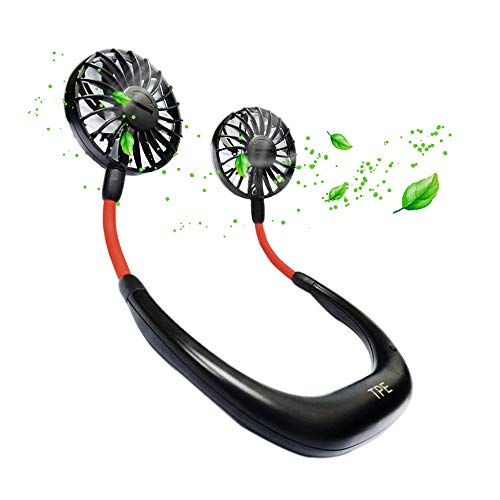 Necklace Fan USB Rechargeable, Hand-Free Neckband Double Fan, Built-in Aromatherapy Tablet, 3-Speed Adjustable, 360 Degrees Free Rotation, Electric Mini Cooling USB Fan for Traveling| Camping| Outdoor